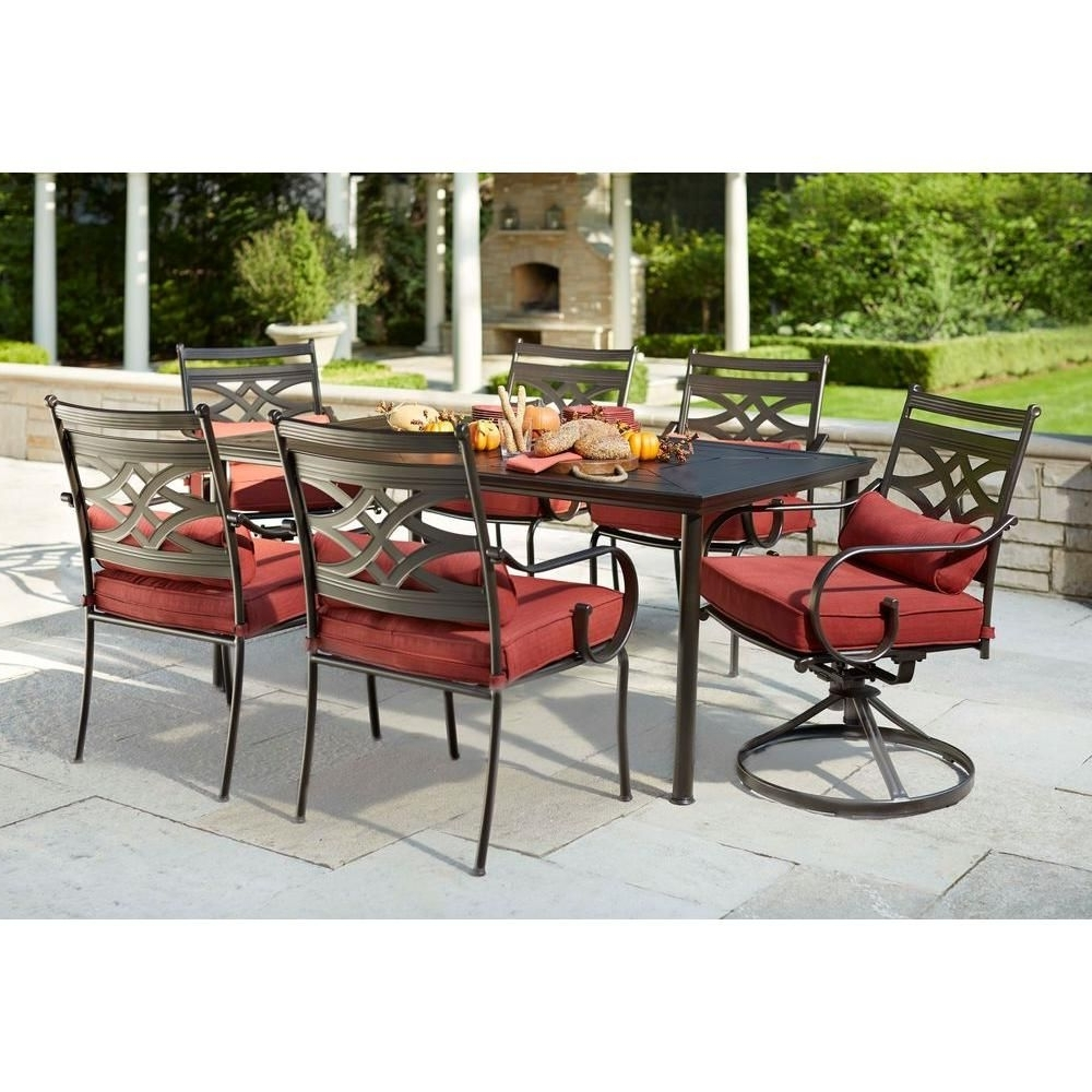 Patio Conversation Sets At Home Depot With Regard To Famous Hampton Bay Middletown 7 Piece Patio Dining Set With Dragonfruit (View 12 of 20)