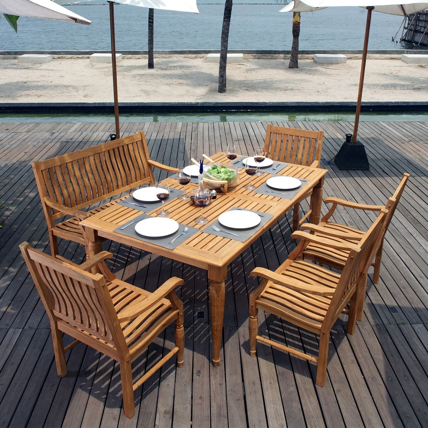 Patio Conversation Sets At Sam's Club With Recent Deluxe Teak 6 Pc (View 13 of 20)