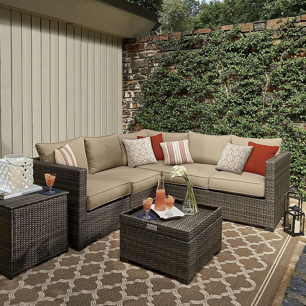Patio Conversation Sets At Sears Inside 2018 Grand Resort Monterey 5Pc Sectional Set – Neutral – Outdoor Living (View 13 of 20)