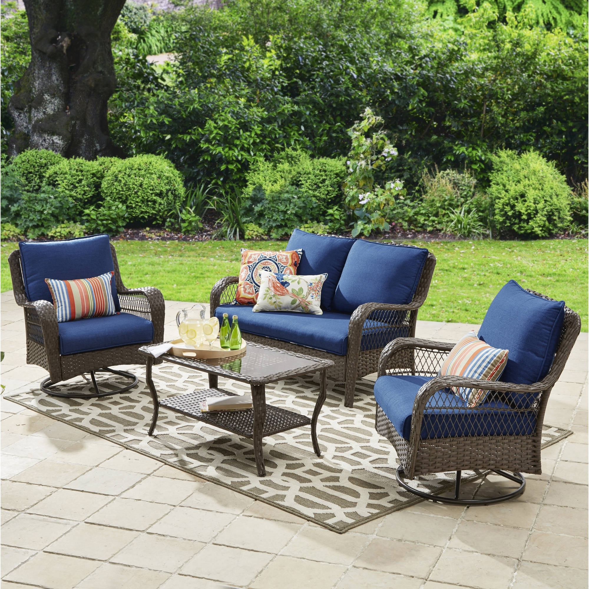Patio Conversation Sets At Walmart For Current Better Homes And Gardens Colebrook 4 Piece Outdoor Conversation Set (View 10 of 20)