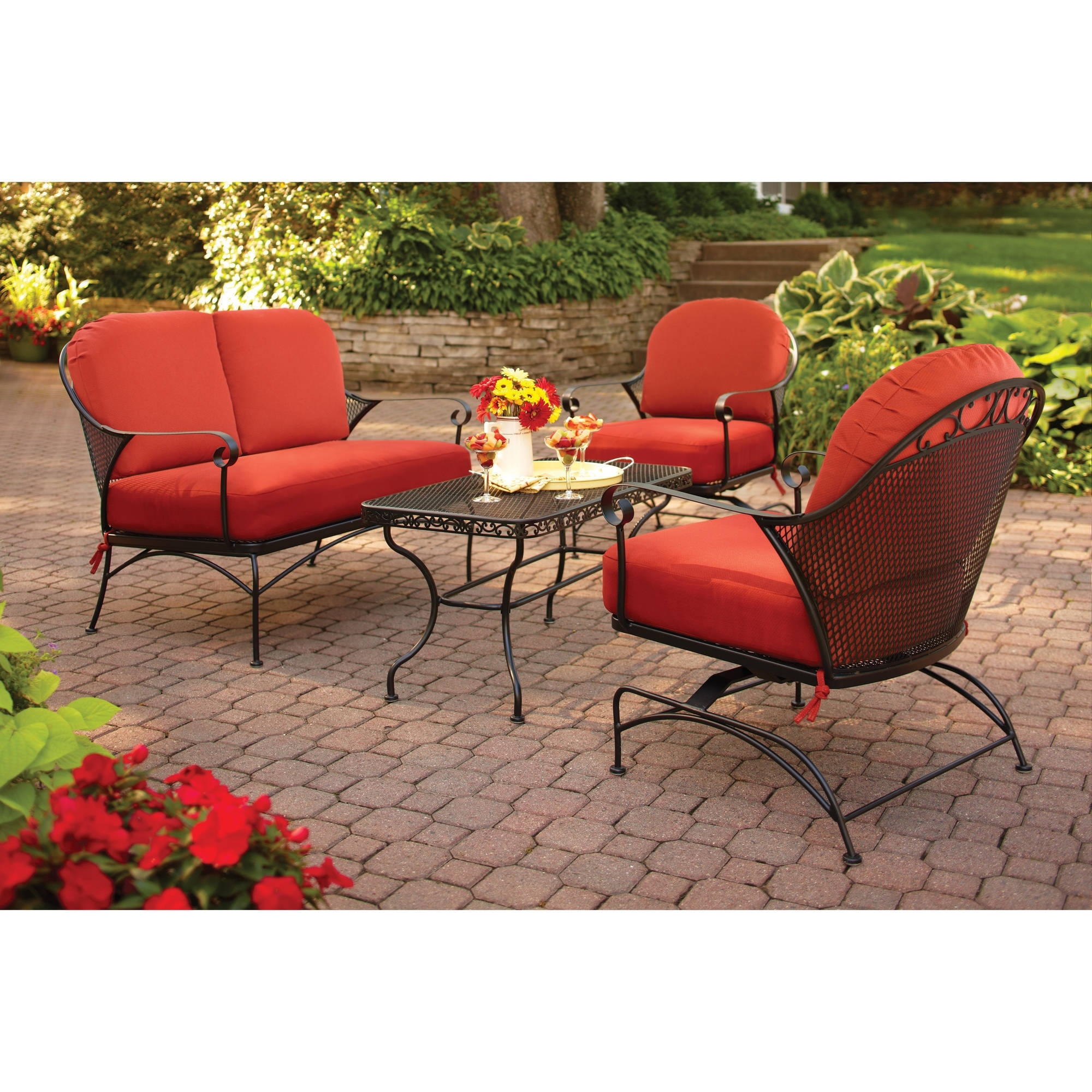 Patio Conversation Sets At Walmart Within Trendy Better Homes And Gardens Clayton Court 4 Piece Patio Conversation (View 16 of 20)