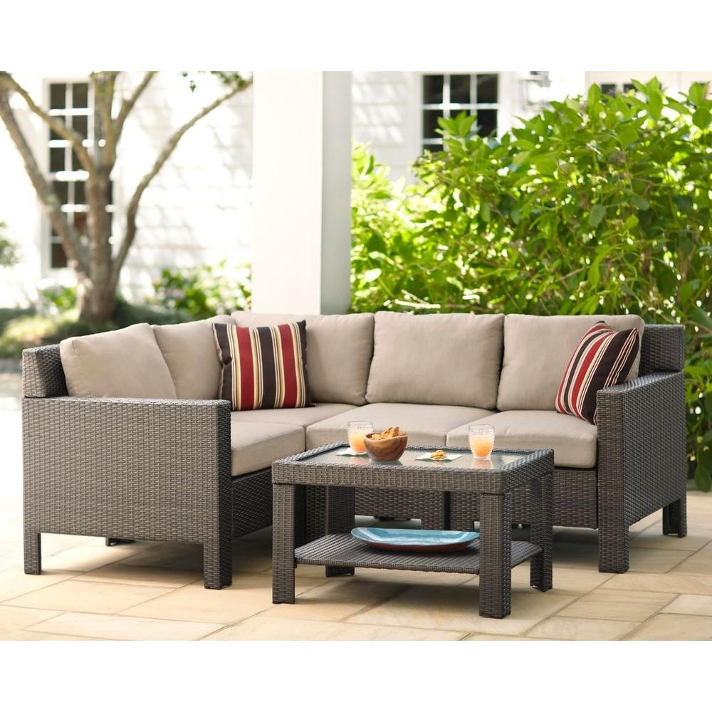 Patio Conversation Sets For Small Spaces In Current Hampton Bay Beverly 5 Piece Patio Sectional Seating Set With Beverly (View 10 of 20)