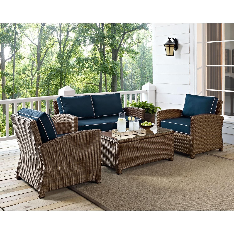 Patio Conversation Sets Regarding 2019 Crosley Furniture Bradenton 4 Piece Outdoor Wicker Seating Set With (View 14 of 20)