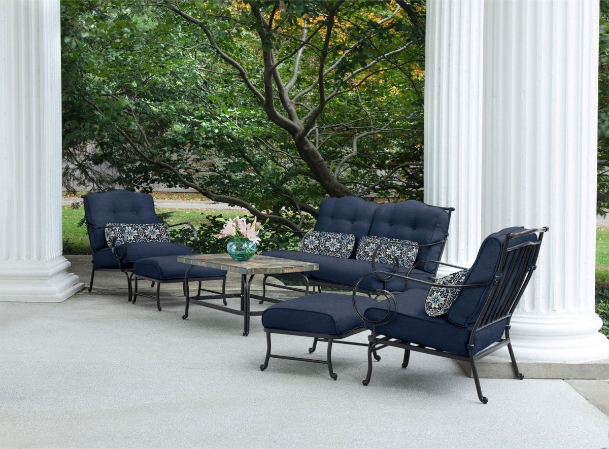 Patio Conversation Sets With Blue Cushions Inside Latest Hanover Oceana 6 Piece Outdoor Conversation Set W/ Deep Seat Cushions (View 17 of 20)