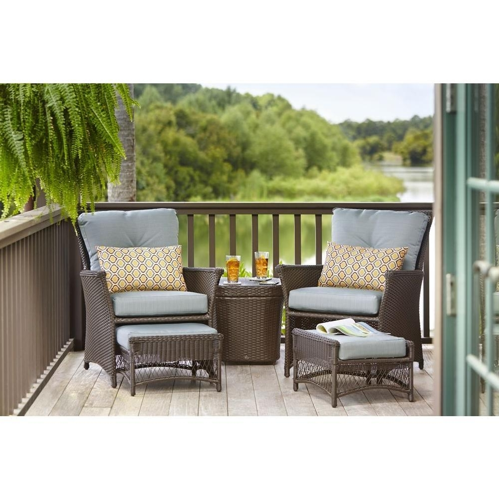 Patio Conversation Sets With Blue Cushions With Regard To Newest Hampton Bay Blue Hill 5 Piece Patio Conversation Set With Blue Green (View 14 of 20)
