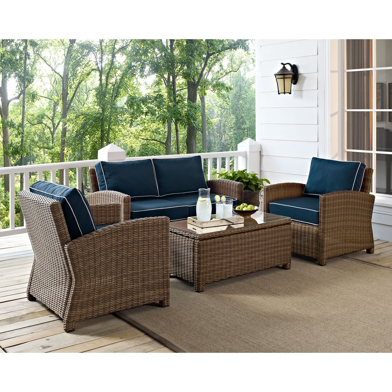 Patio Conversation Sets With Cushions In Most Recently Released Crosley Furniture Bradenton 4 Piece Outdoor Wicker Seating Set With Navy Cushions (View 7 of 20)