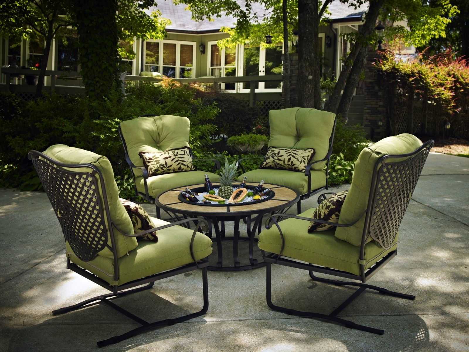 Patio Conversation Sets With Cushions Inside Preferred Patio : Wrought Iron Patio Furnitureca Furniture Value Plantation (View 12 of 20)