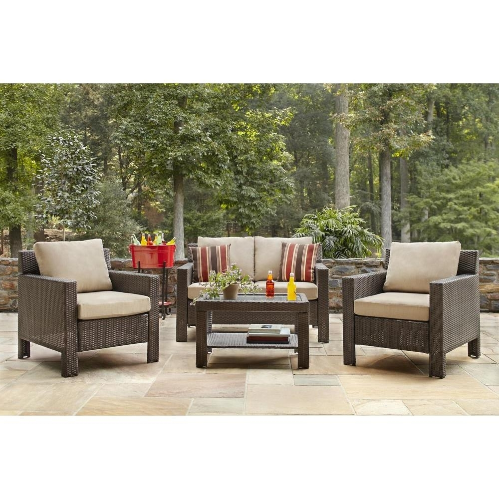 Patio Conversation Sets With Cushions With Regard To Trendy Hampton Bay Beverly 4 Piece Patio Deep Seating Set With Beverly Beige  Cushions (View 14 of 20)