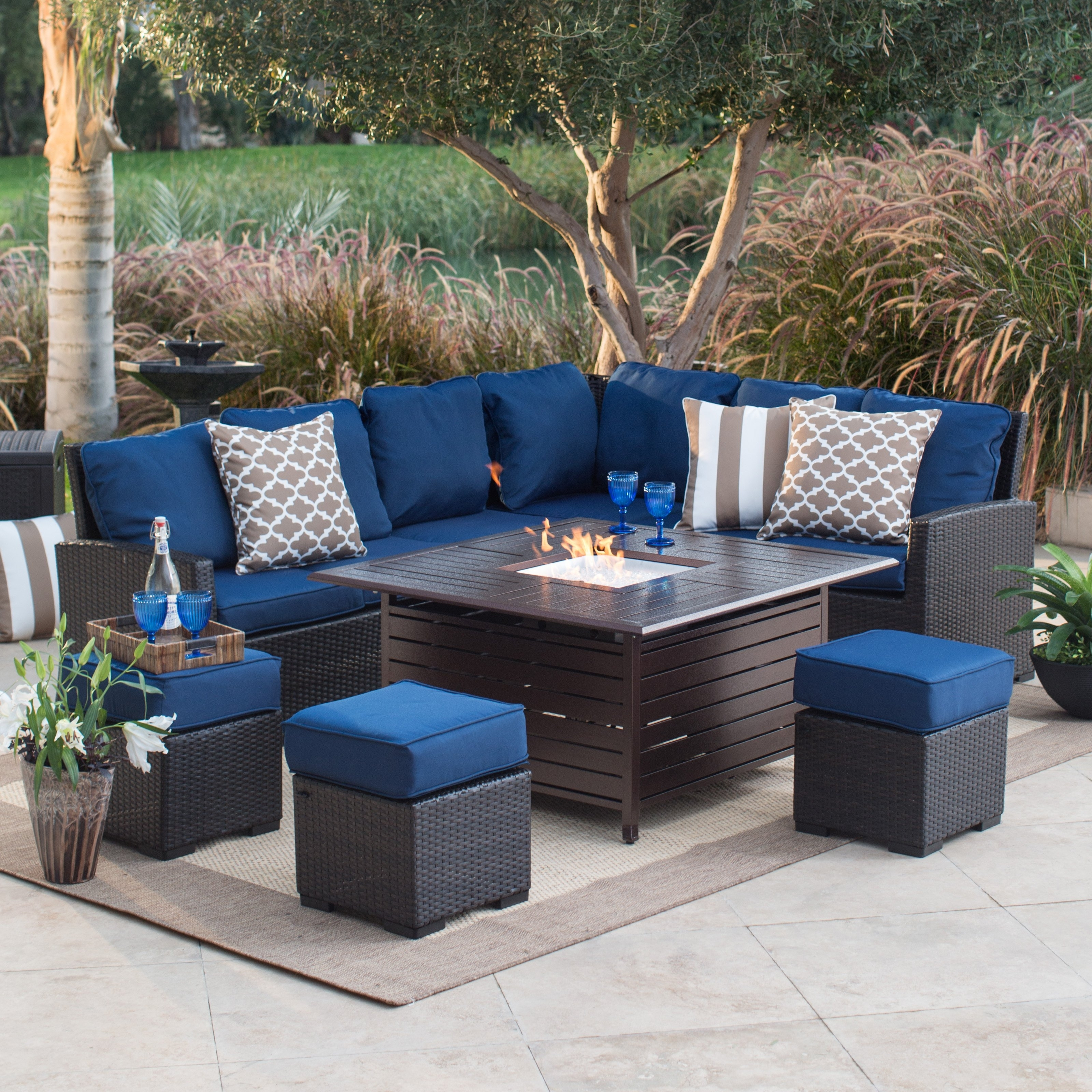 Patio Conversation Sets With Fire Pit In Popular Fire Pit Patio Sets Hayneedle Chat Set Cover Canada Captivating (View 8 of 20)