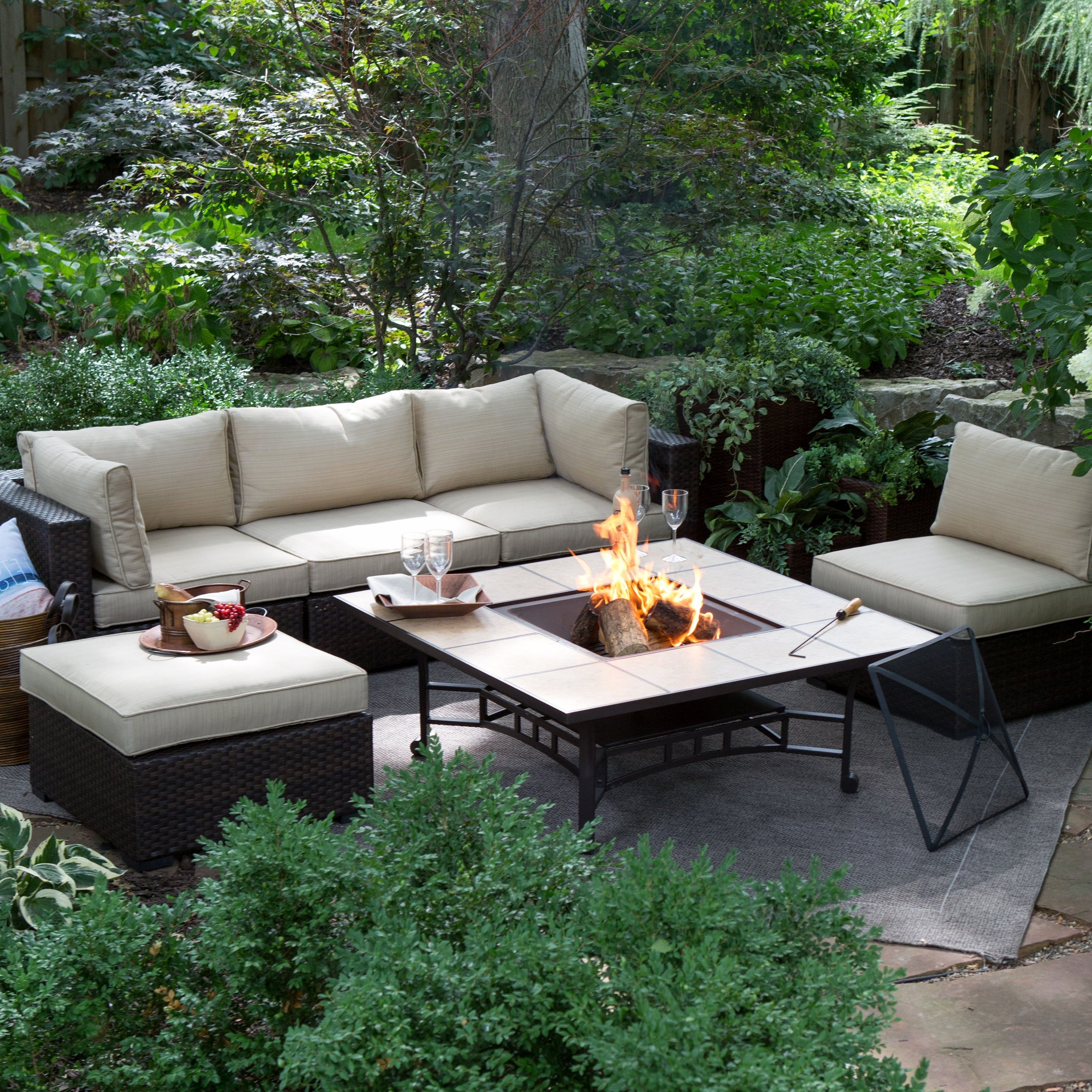 Patio Conversation Sets With Fire Pit Table Inside Current Fire Pits (View 10 of 20)