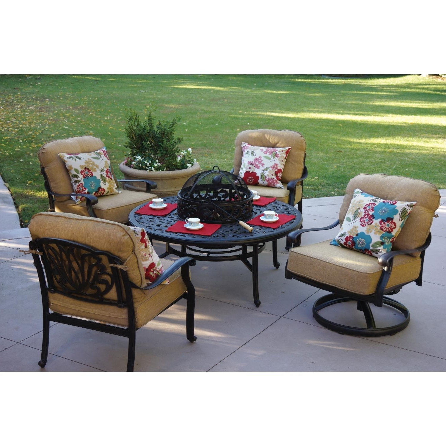 Patio Conversation Sets With Fire Pit Table Throughout Well Known Darlee Elisabeth 5 Piece Patio Fire Pit Conversation Seating Set (View 16 of 20)