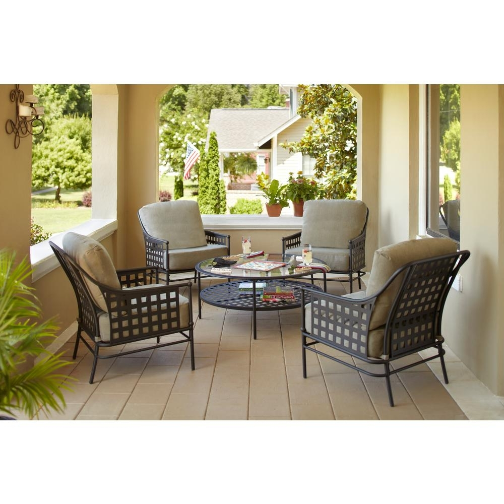 Patio Conversation Sets With Fire Pit Table With Regard To Best And Newest Hampton Bay Lynnfield 5 Piece Patio Conversation Set With Gray Beige (View 20 of 20)