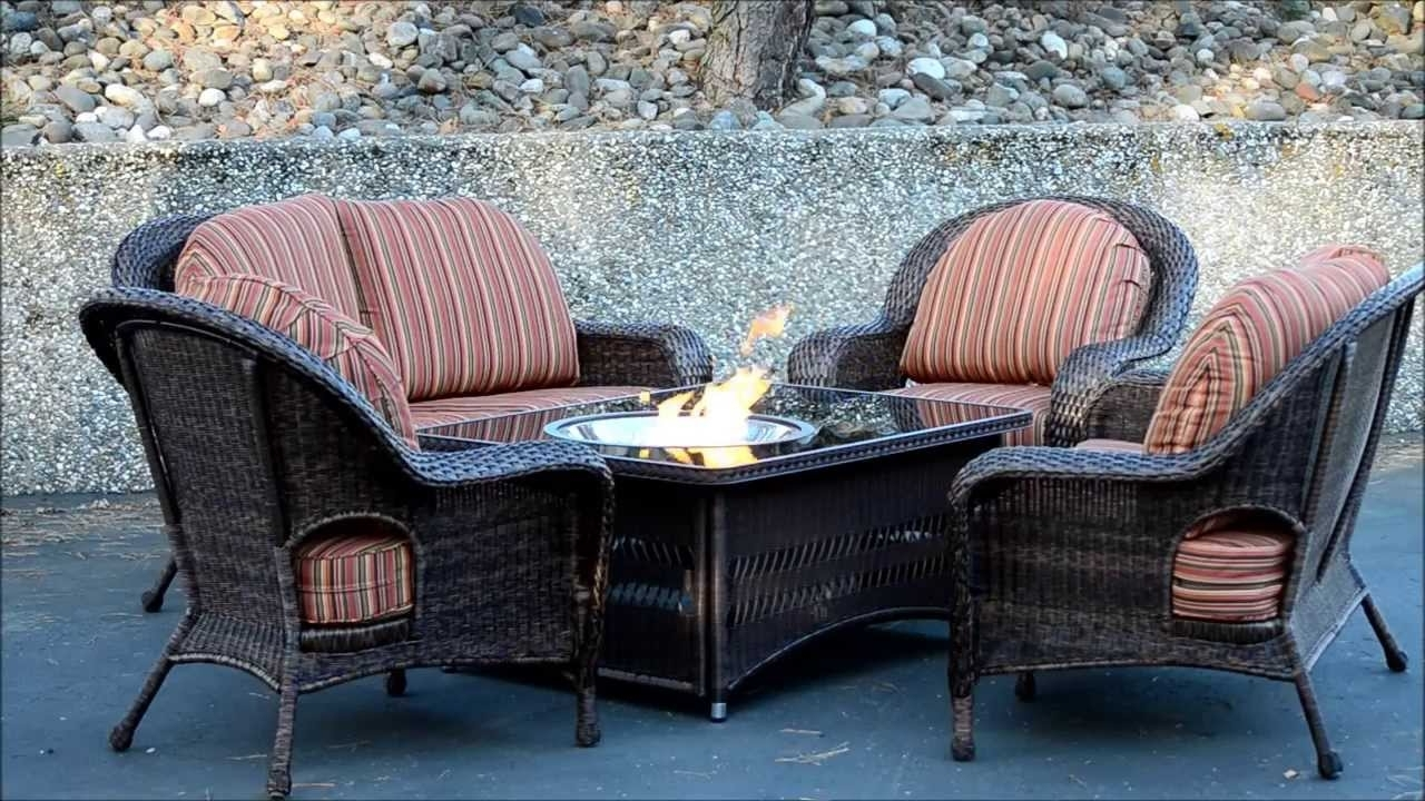 Patio Conversation Sets With Fire Pit Table With Regard To Most Current Soar Patio Furniture Sets With Fire Pit Naples Table Balsam Wicker (View 16 of 20)
