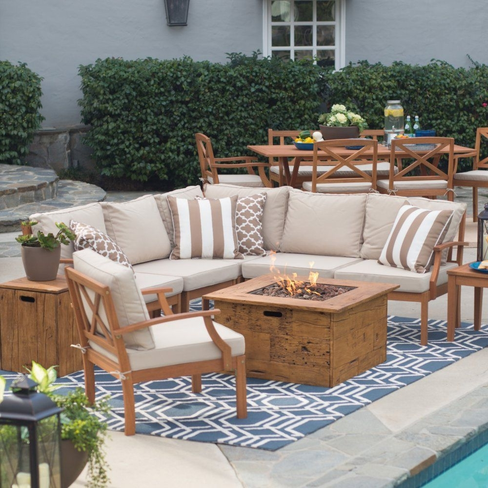 Patio Conversation Sets With Gas Fire Pit Inside Latest Belham Living Brighton Outdoor Wood Large Conversation Set With (View 6 of 20)