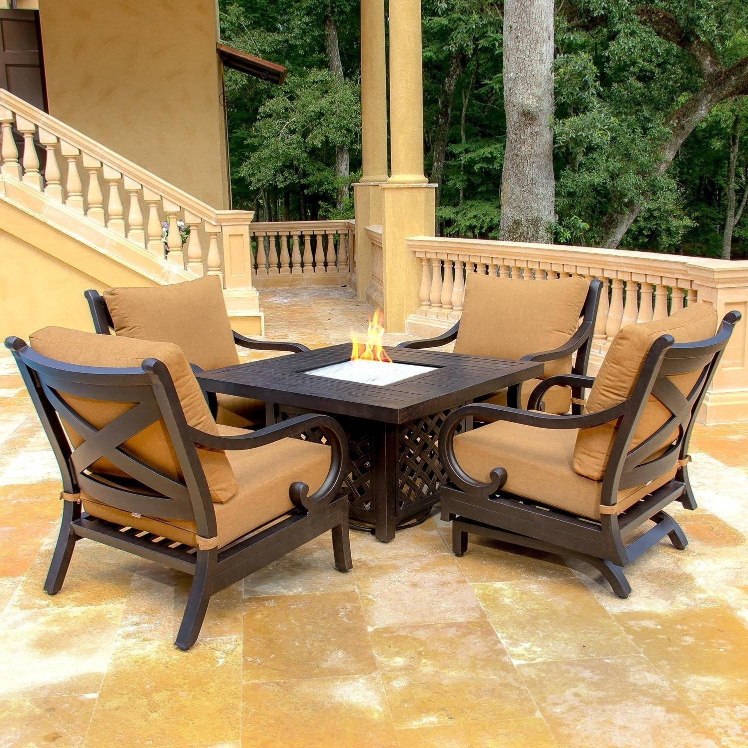 Patio Conversation Sets With Gas Fire Pit Intended For Popular 11 Patio Furniture Fire Pit (View 8 of 20)