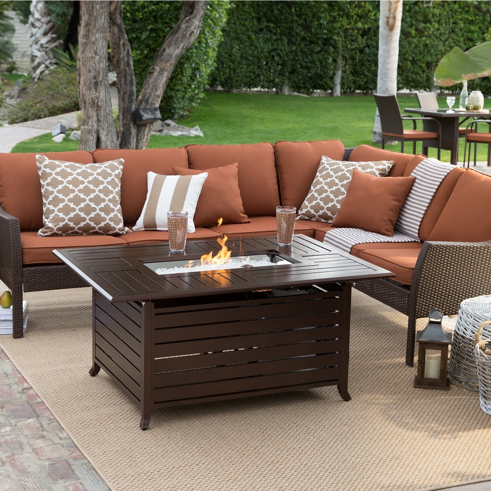 Patio Conversation Sets With Gas Fire Pit Throughout Fashionable Fireplace Tables Outdoor Unique Patio Conversation Sets With Fire (View 14 of 20)