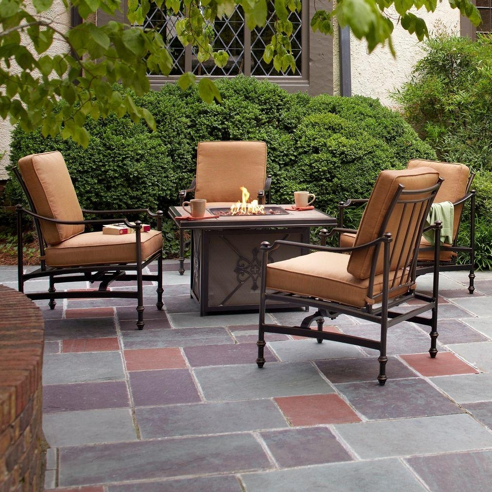 Patio Conversation Sets With Gas Fire Pit With Most Recently Released Hampton Bay Niles Park 5 Piece Gas Fire Pit Patio Seating Set With (View 9 of 20)