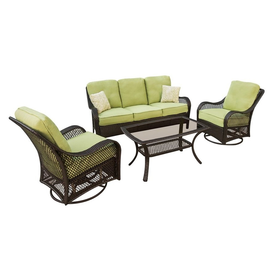 Patio Conversation Sets With Glider Regarding Most Popular Shop Hanover Outdoor Furniture Orleans 4 Piece Wicker Frame Patio (View 5 of 20)