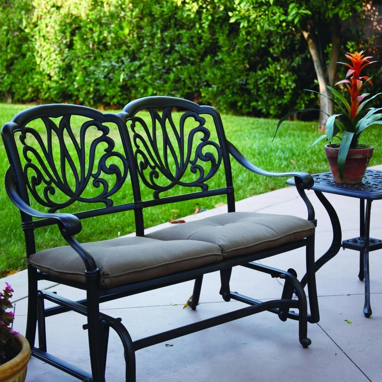 Patio Conversation Sets With Glider Throughout Most Recently Released Darlee Elisabeth 2 Piece Aluminum Patio Bench Glider Set (View 14 of 20)