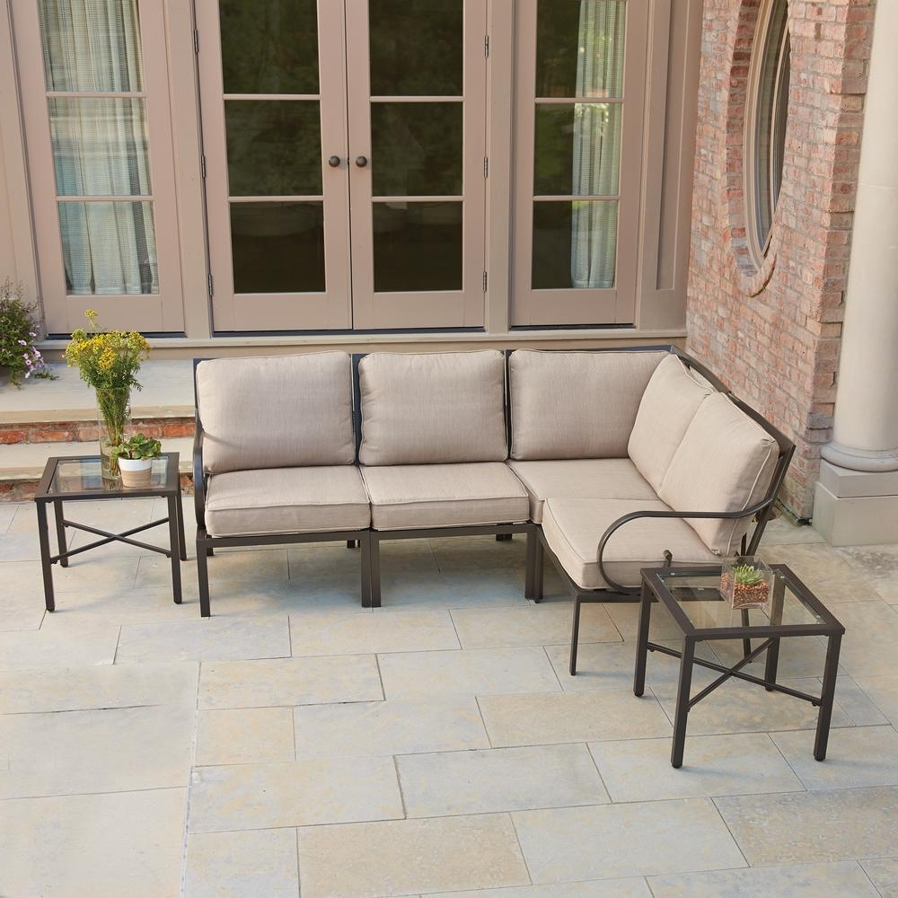 Patio Conversation Sets With Glider Within Popular Cushion : Hampton Bay Corranade Piece Wicker Outdoor Dining Set Home (View 16 of 20)