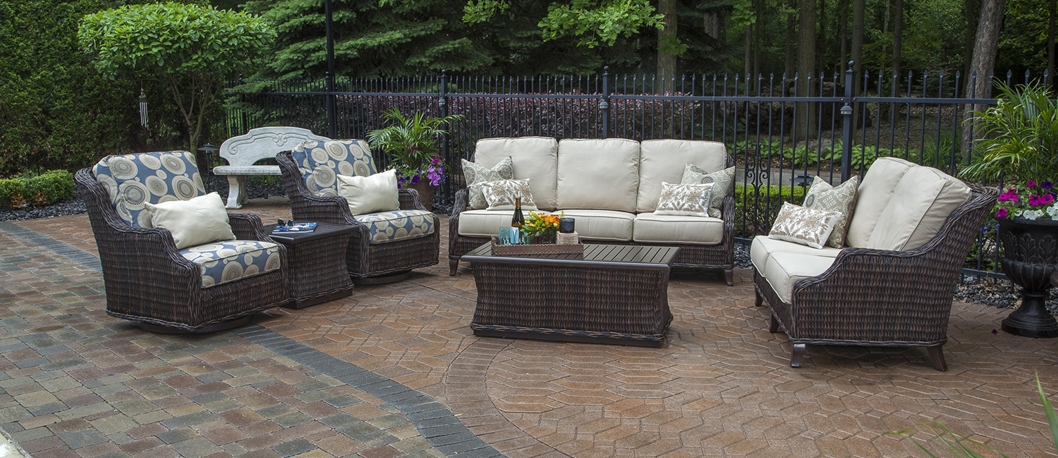 Patio Conversation Sets With Glider Within Preferred Gray Wicker Patio Furniture Shop For Heredeco 13 Piece Outdoor Porch (View 16 of 20)