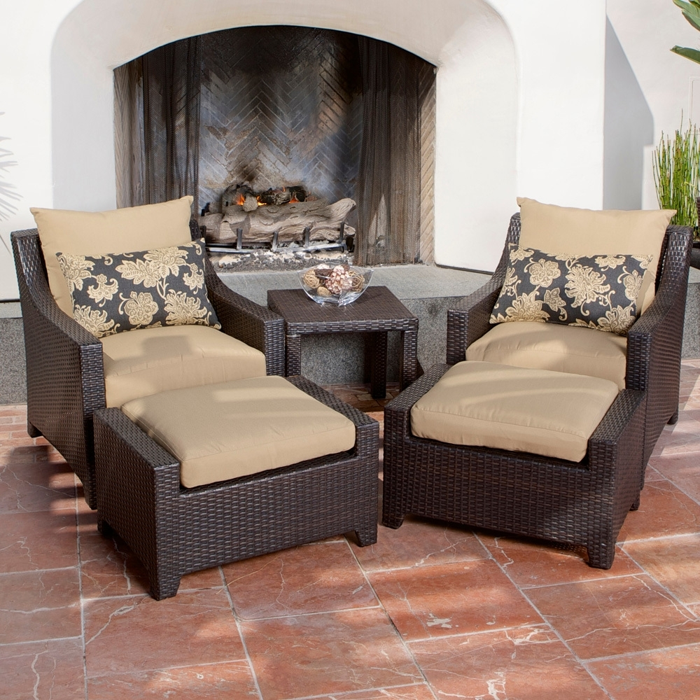 Patio Conversation Sets With Ottoman With Popular Delano 5 Piece Outdoor Chair And Ottoman With Side Table Set – Patio (View 6 of 20)