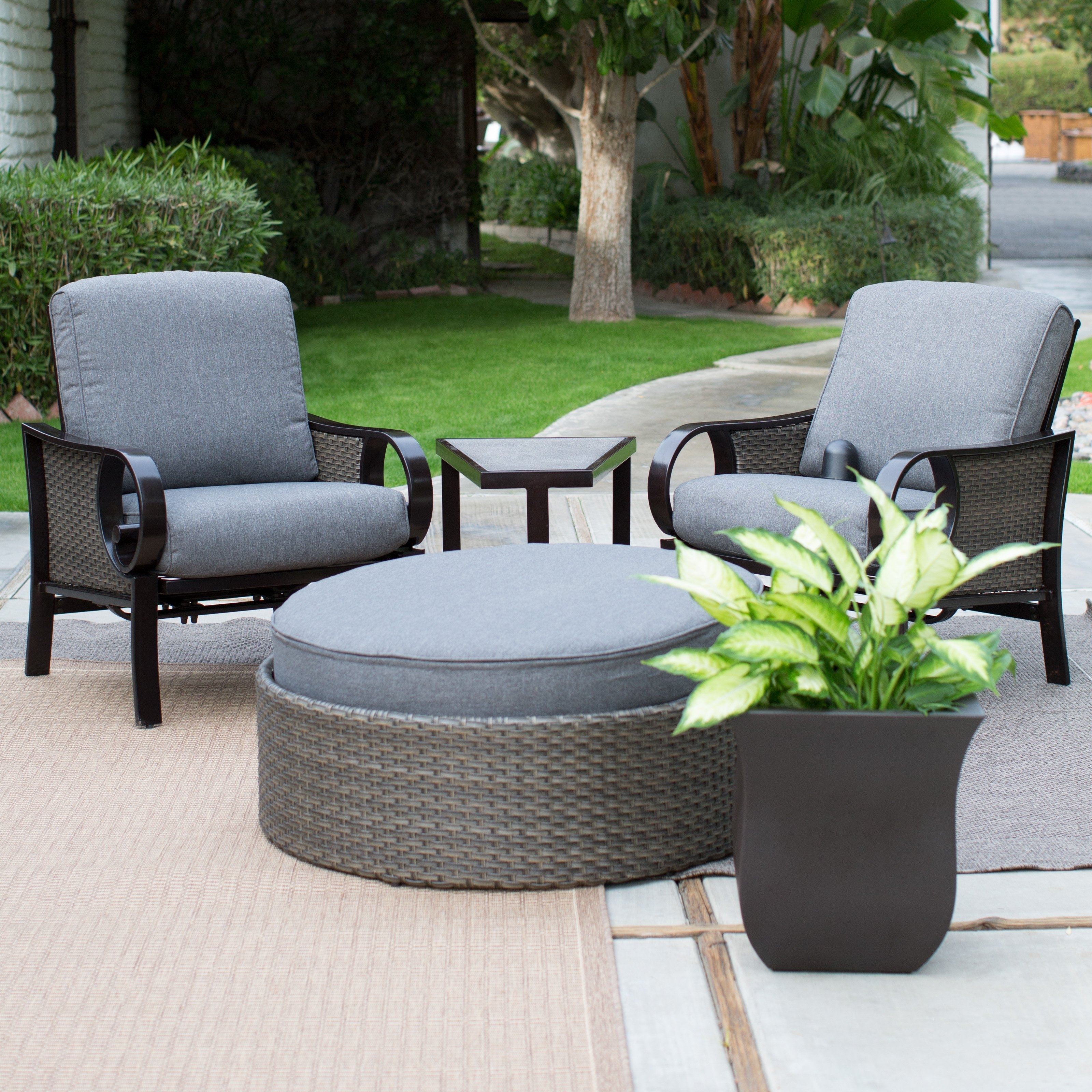 Patio Conversation Sets With Ottomans Throughout Best And Newest 22 Creative Patio Conversation Sets With Ottoman – Pixelmari (View 19 of 20)
