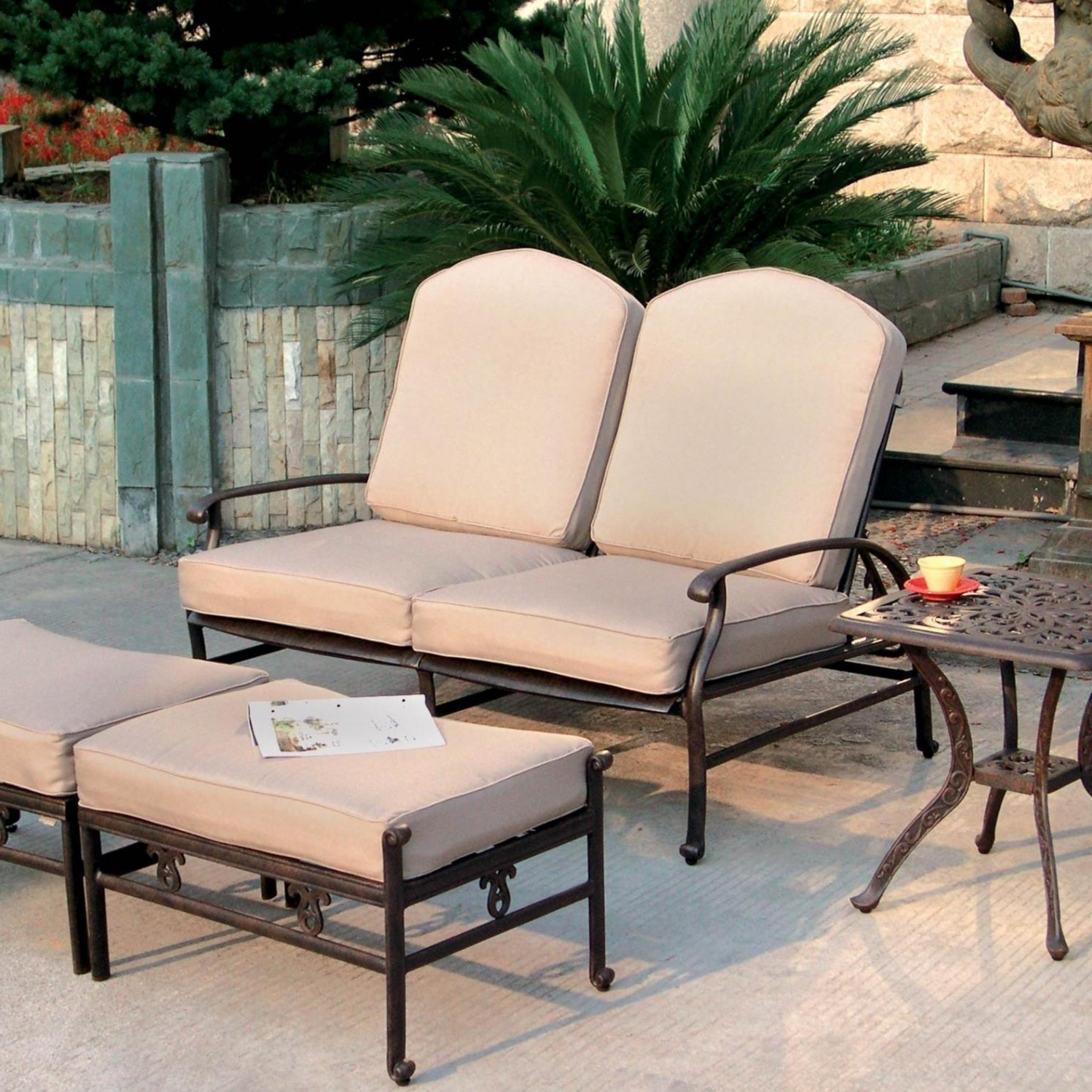 Patio Conversation Sets With Ottomans Within Well Liked Darlee Catalina 3 Piece Cast Aluminum Reclining Patio Loveseat Set (View 14 of 20)