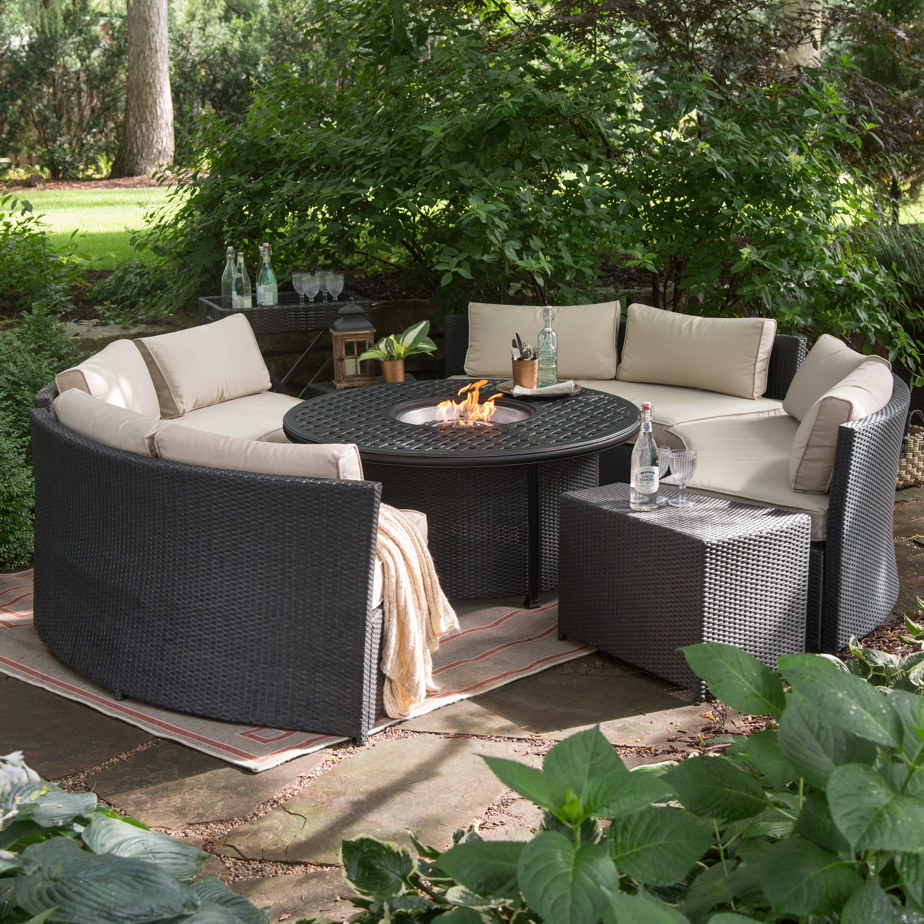 Patio Conversation Sets With Propane Fire Pit Inside 2018 Luxury Fire Pit Set Propane Fire Pit Sets Outdoor Lounge Furniture (View 16 of 20)