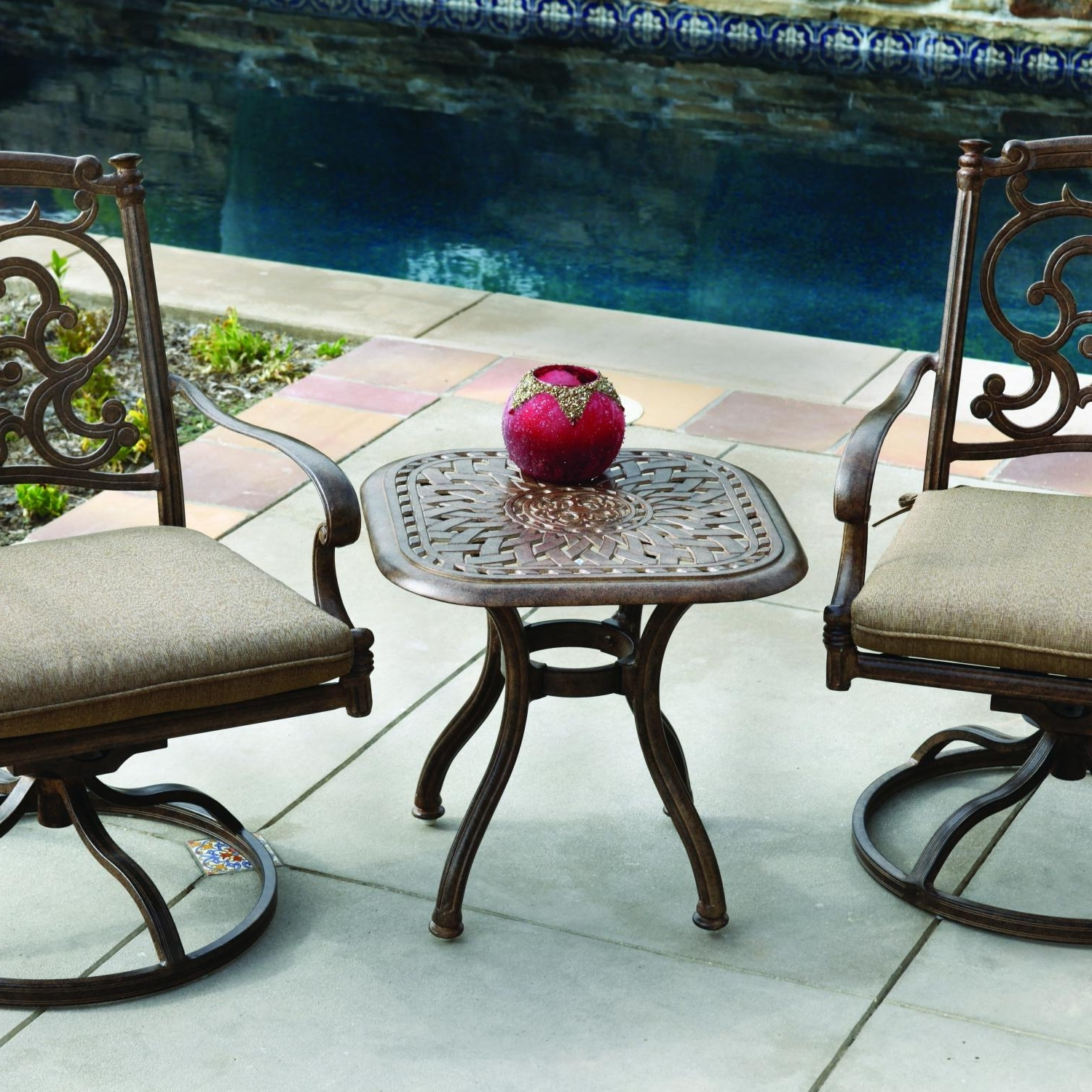Patio Conversation Sets With Rockers Pertaining To 2018 Darlee Santa Barbara 3 Piece Cast Aluminum Patio Bistro Set With (View 16 of 20)