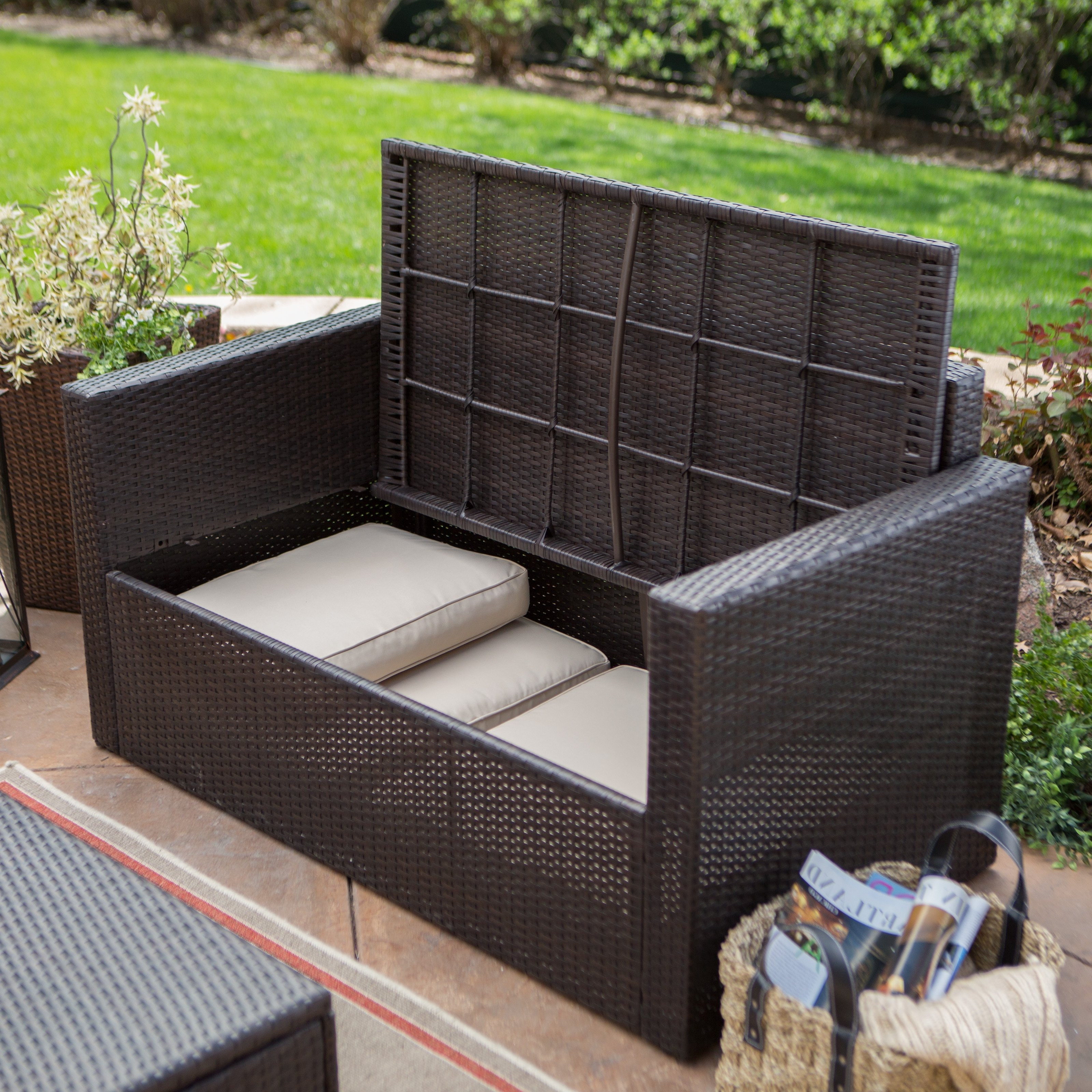 Patio Conversation Sets With Storage For Well Liked Coral Coast Berea Outdoor Wicker Storage Loveseat With Cushions (View 12 of 20)