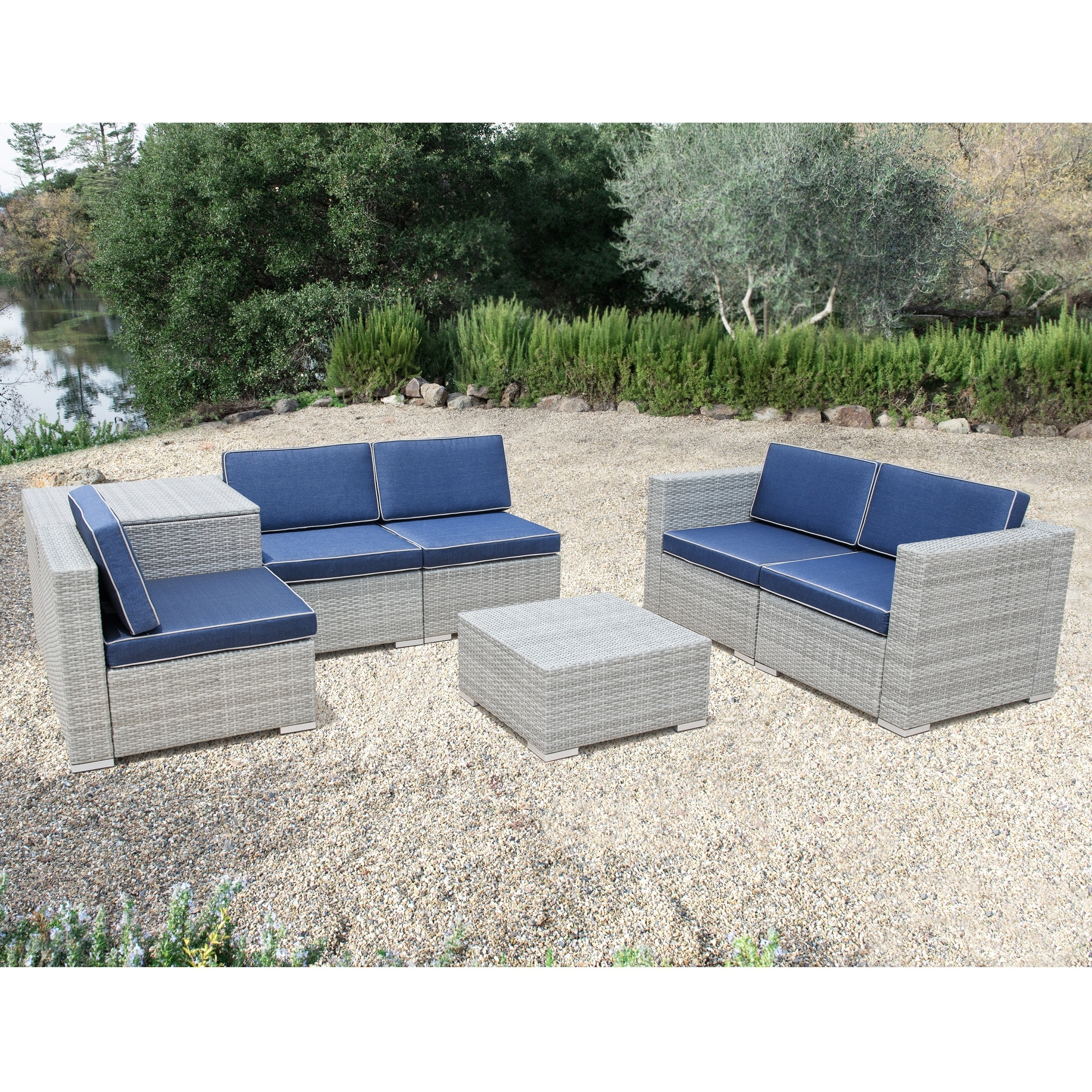 Patio Conversation Sets With Storage Inside Trendy Shop Corvus Bologna 7 Piece Grey Wicker Patio Furniture Set With (View 8 of 20)