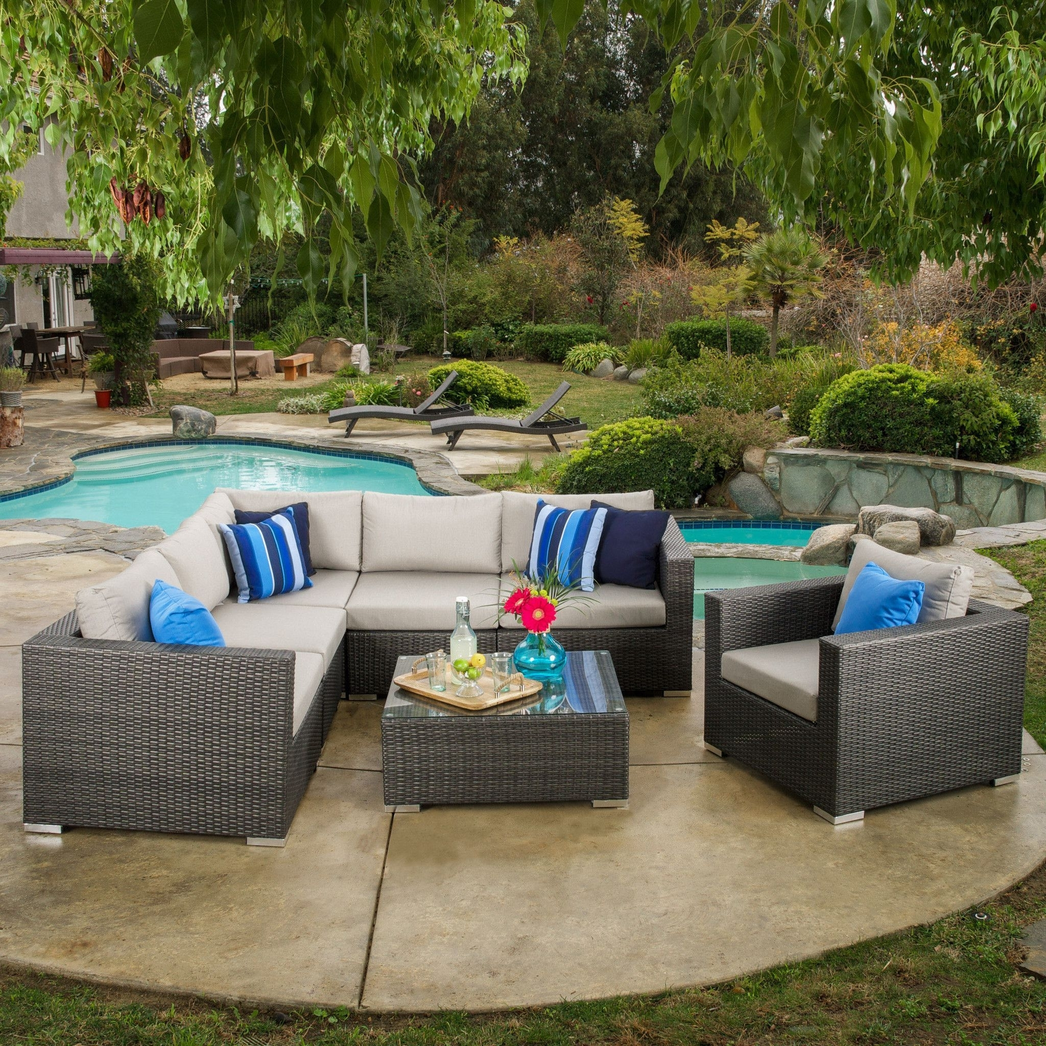 Patio Conversation Sets With Sunbrella Cushions In Fashionable Francisco Outdoor 7 Piece Grey Wicker Seating Sectional Set With (View 10 of 20)