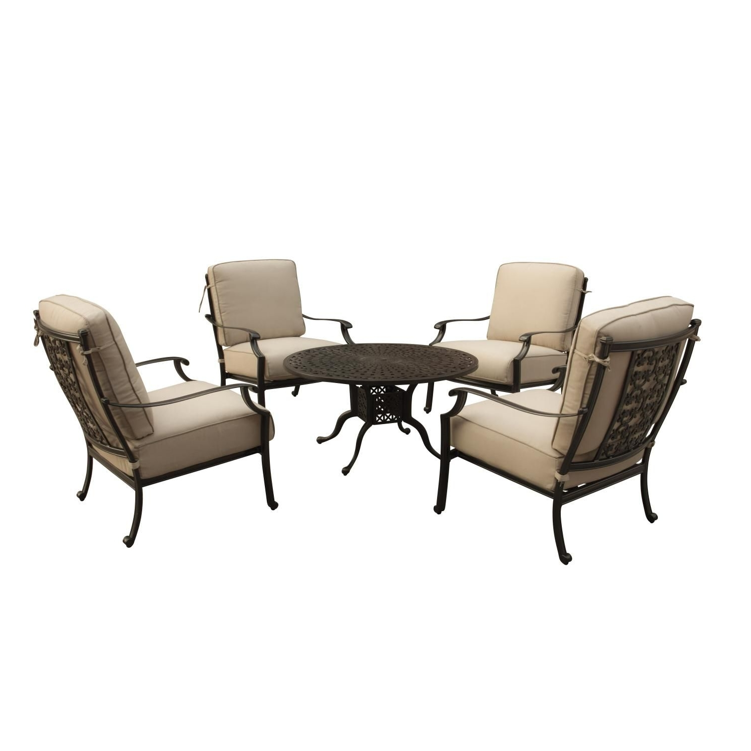 Patio Conversation Sets With Sunbrella Cushions Inside Well Known Carondelet 5 Piece Cast Aluminum Patio Conversation Set W/ Sunbrella (View 12 of 20)