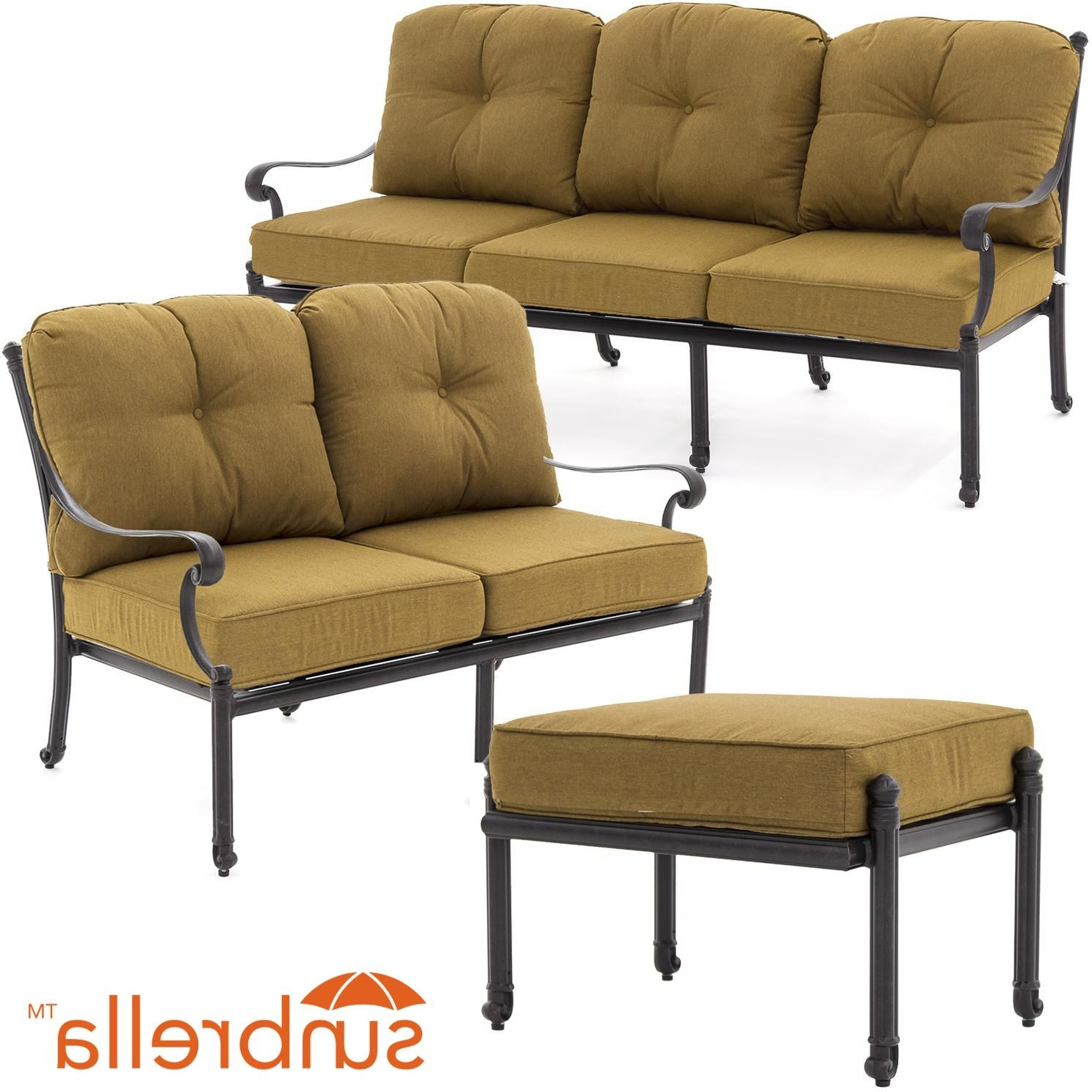 Patio Conversation Sets With Sunbrella Cushions Inside Well Known Evangeline 3 Piece Cast Aluminum Outdoor Conversation Set W (View 13 of 20)