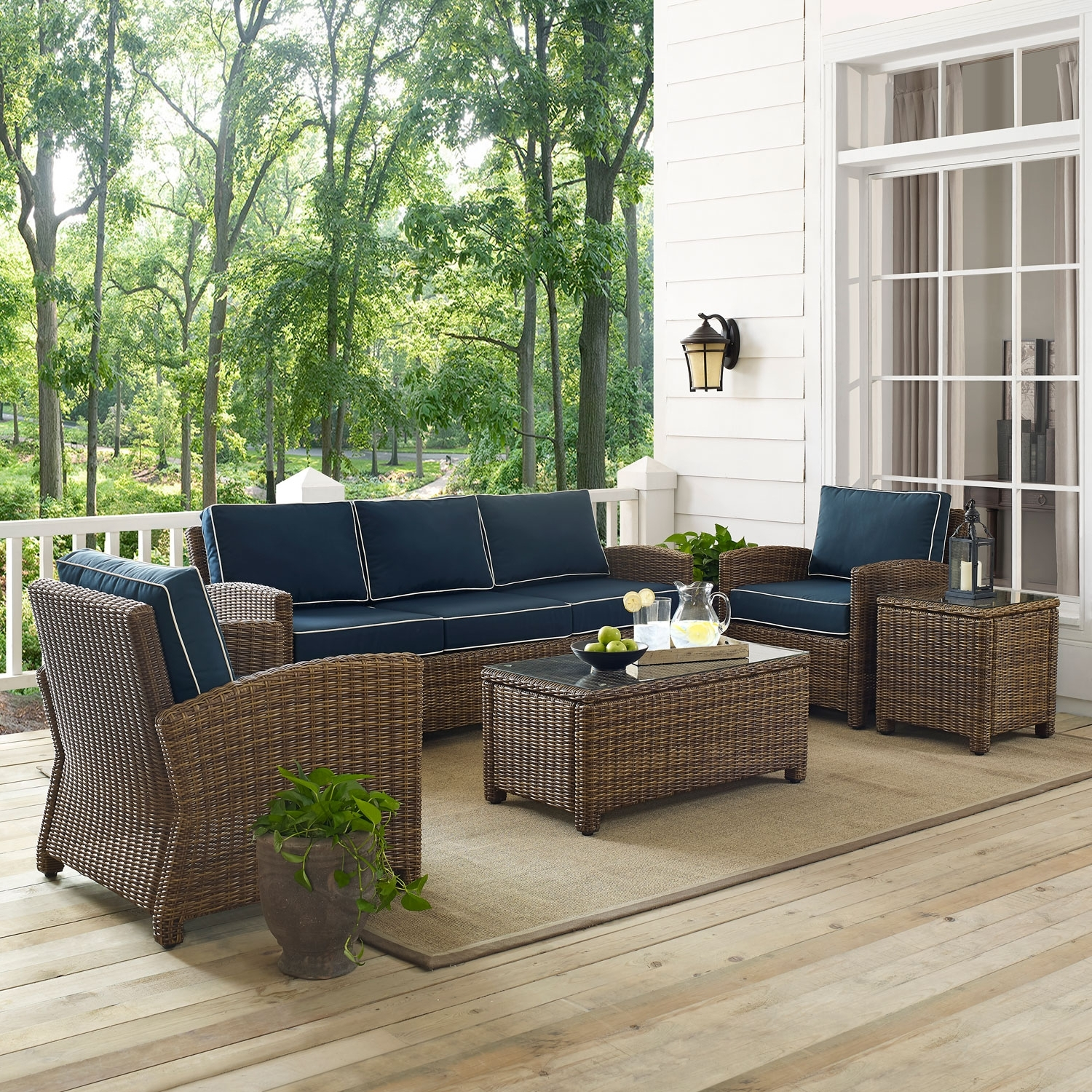 Patio Conversation Sets With Sunbrella Cushions Regarding Trendy Crosley Furniture Bradenton Navy 5 Piece Outdoor Wicker Sofa (View 17 of 20)
