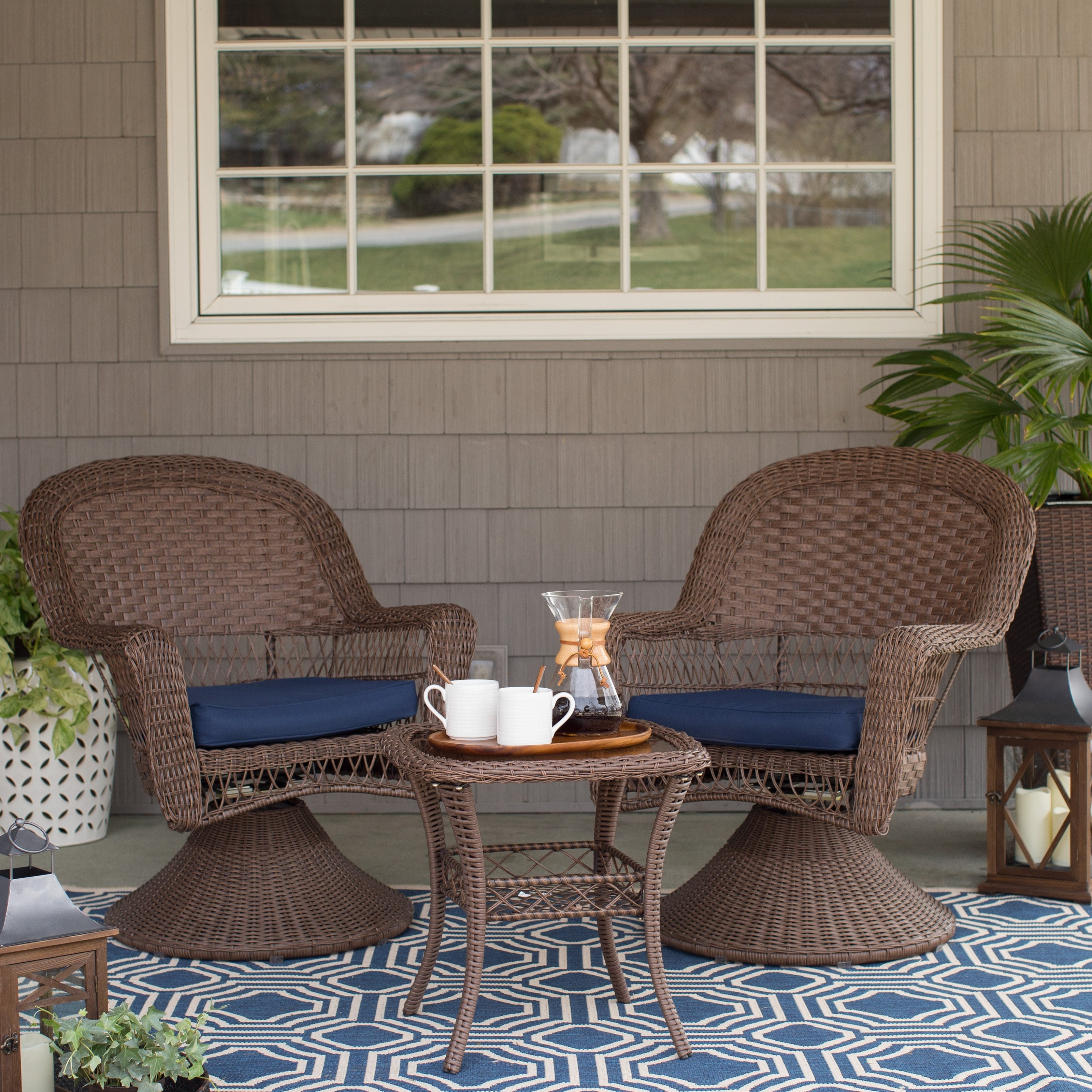Patio Conversation Sets With Swivel Chairs Intended For Preferred Coral Coast 3 Piece Wicker Swivel Chat Set – Walmart (View 16 of 20)