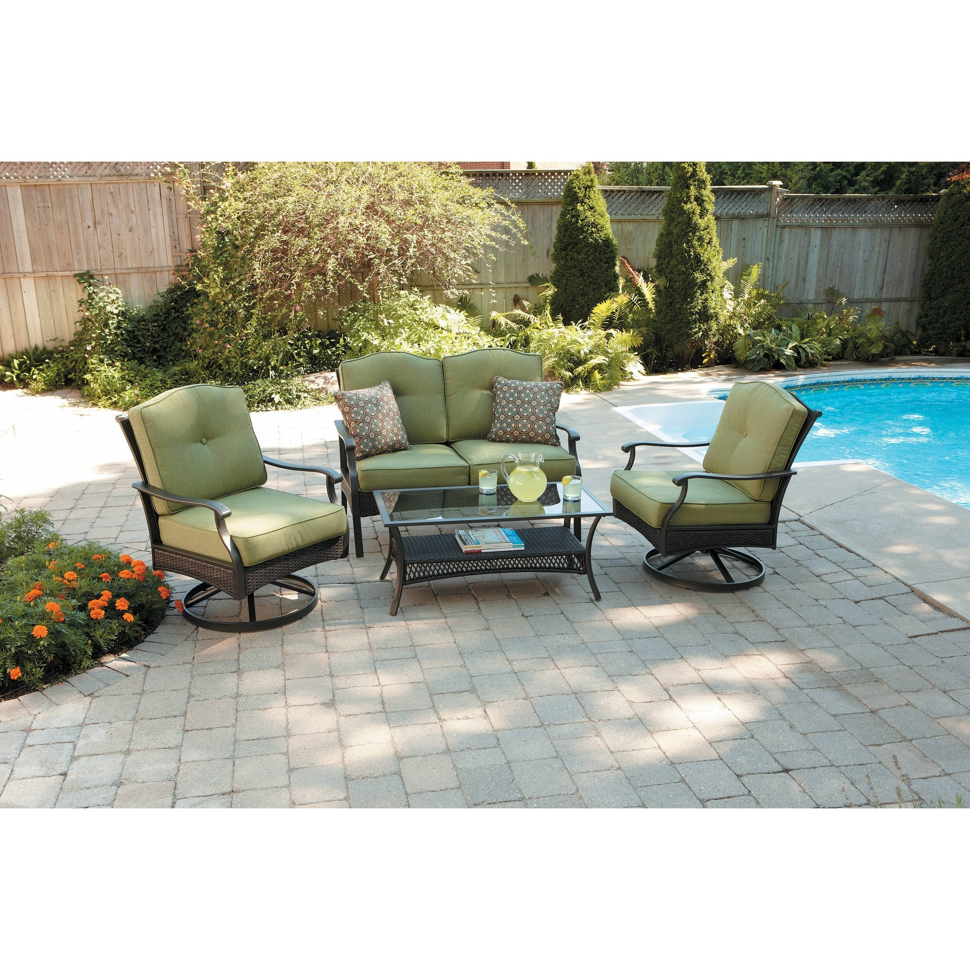 Patio Conversation Sets With Swivel Chairs Regarding Well Known Better Homes And Gardens Providence 4 Piece Patio Conversation Set (View 14 of 20)