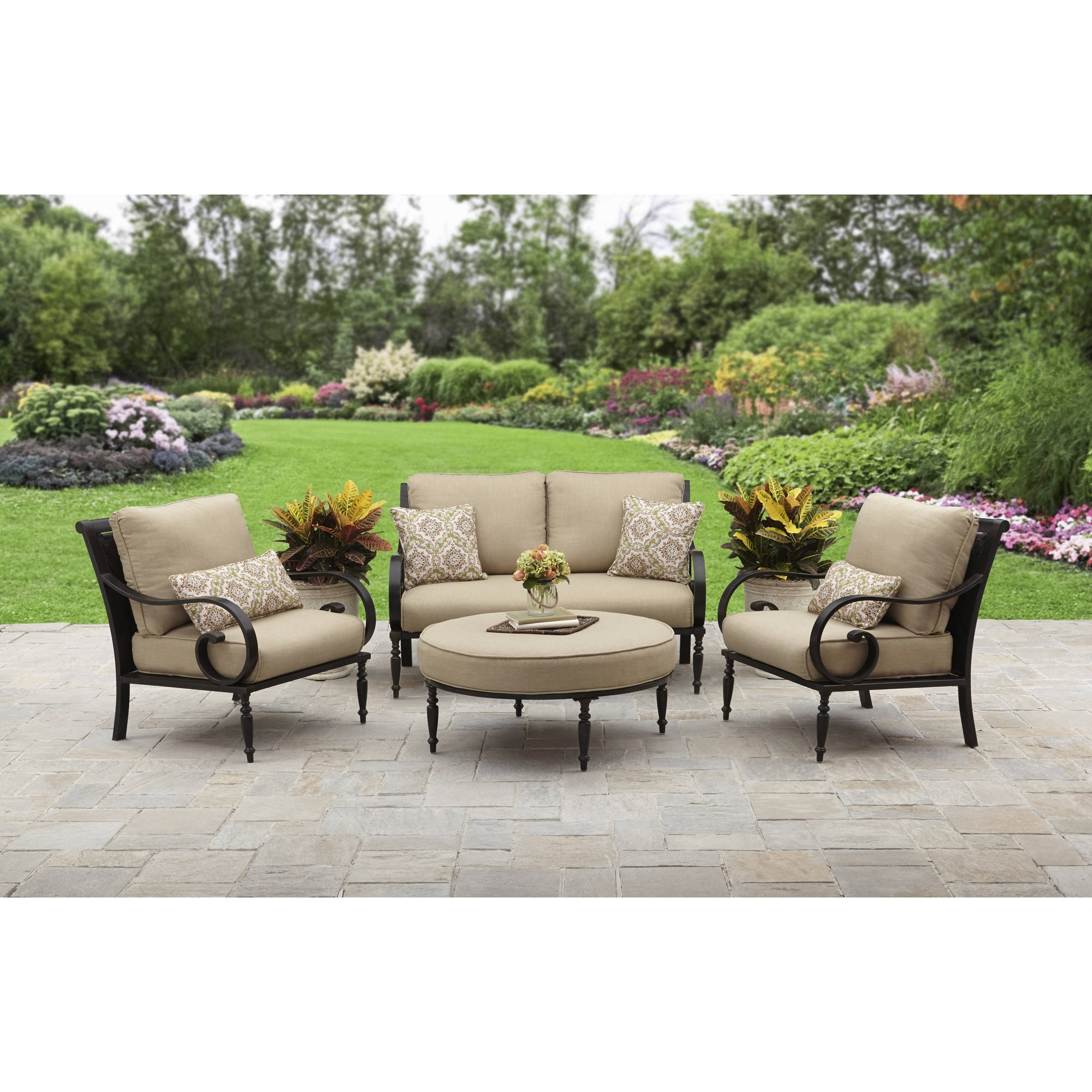 Patio Conversation Sets Without Cushions Intended For Newest Better Homes And Gardens Englewood Heights Ii Aluminum 4 Piece (View 10 of 20)