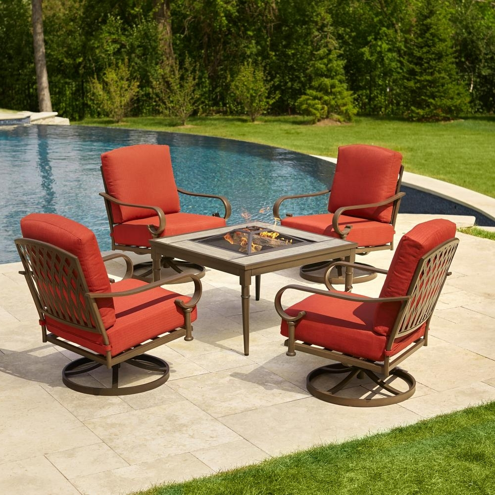 Patio Furniture Conversation Sets At Home Depot For 2018 Hampton Bay Oak Cliff 5 Piece Metal Patio Fire Pit Conversation Set (View 13 of 20)