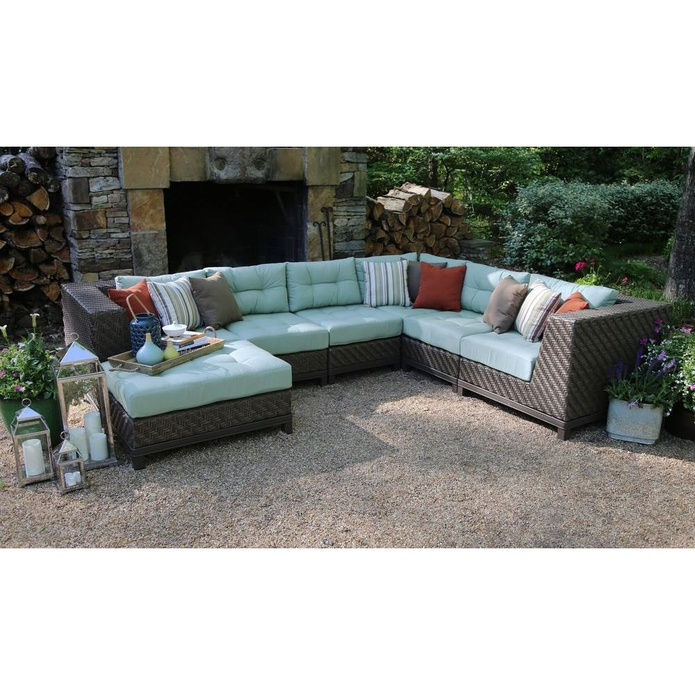 Patio Furniture Conversation Sets At Home Depot Inside Best And Newest Ae Outdoor Dawson 7 Piece Patio Sectional Seating Set With Sunbrella (View 17 of 20)