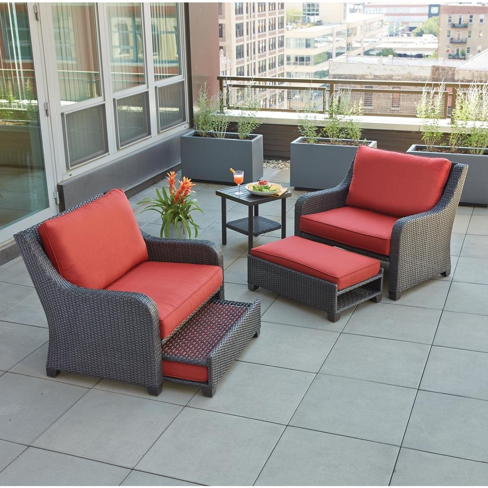 Patio Furniture Conversation Sets At Home Depot Throughout Well Liked Hampton Bay Sauntera 5 Piece Wicker Patio Seating Set With Red (View 15 of 20)
