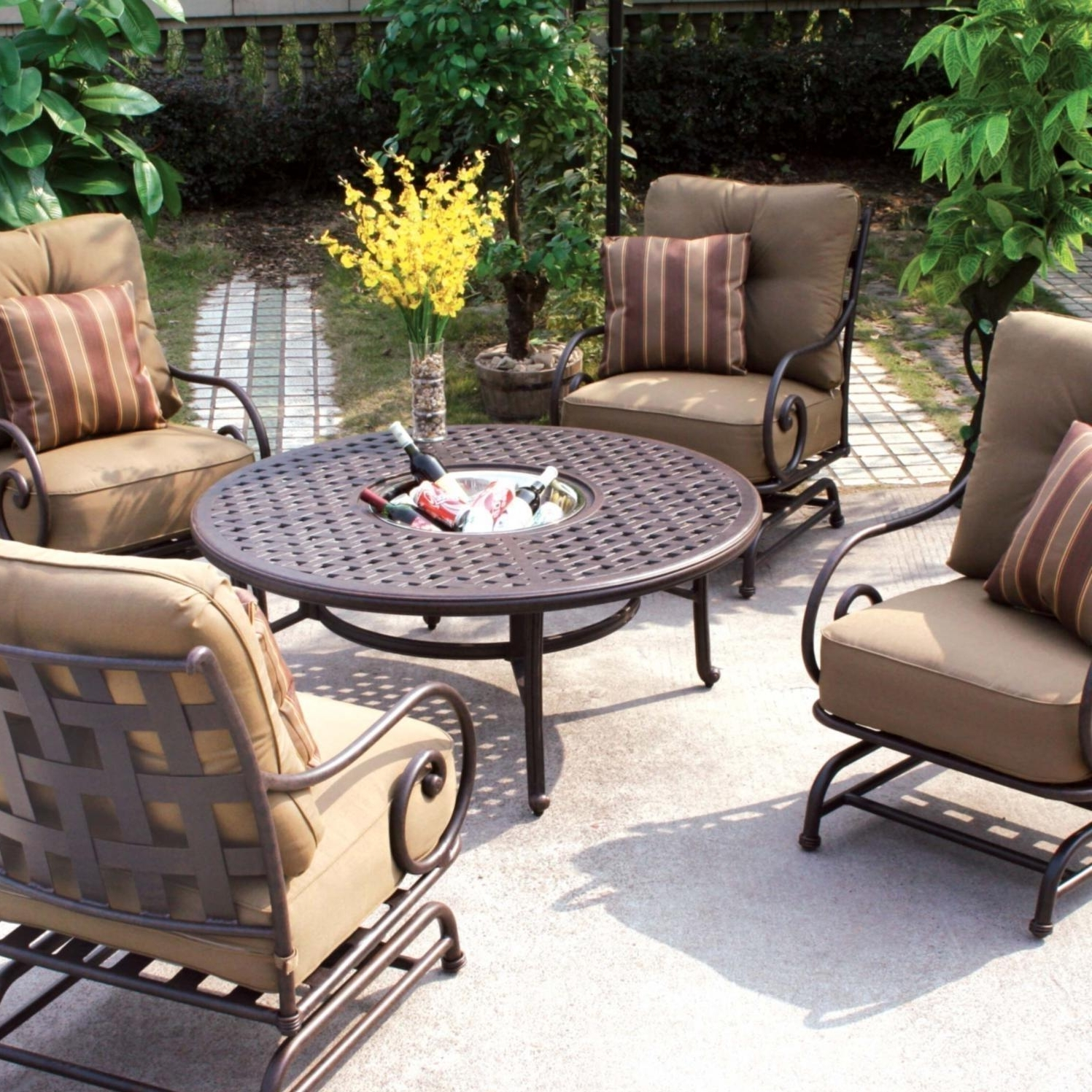 Patio Furniture Conversation Sets At Home Depot With Well Known Darlee Malibu 5 Piece Cast Aluminum Patio Conversation Seating Set (View 18 of 20)