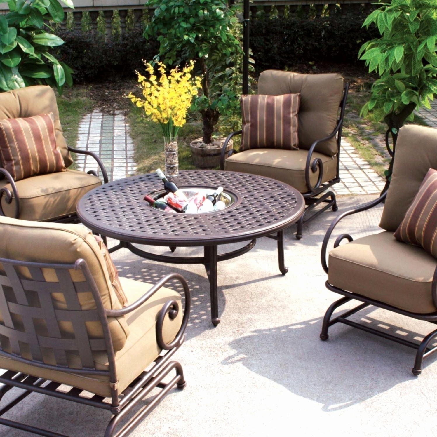 Patio Furniture Lowes Home Depot Patio Furniture Lowes Outdoor Regarding Fashionable Patio Conversation Sets With Swivel Chairs (View 7 of 20)