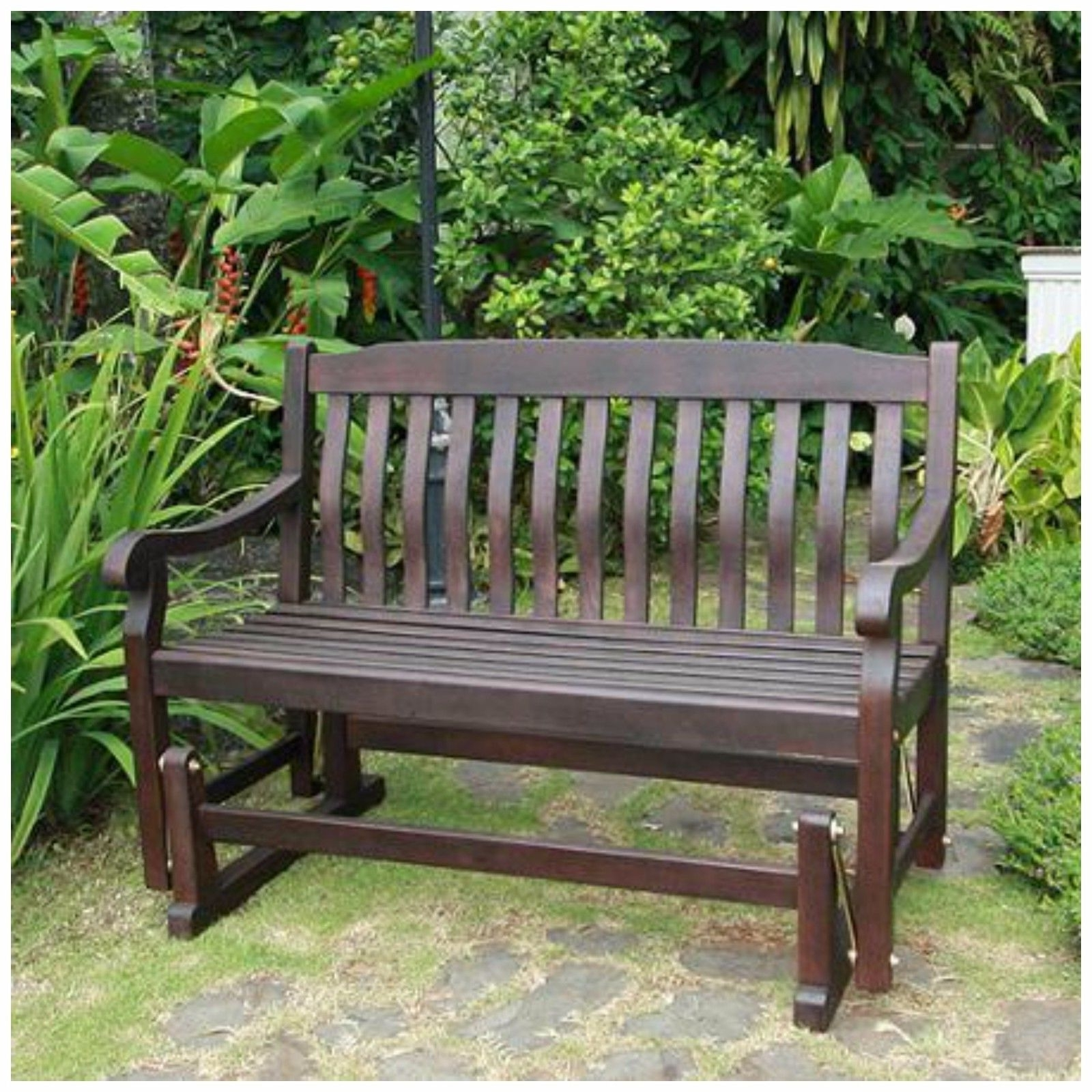 Patio Furniture Rocking Benches For Popular Double Lawn Glider Swing Seatlatform Yard Chair Bench Treated Patio (View 13 of 20)