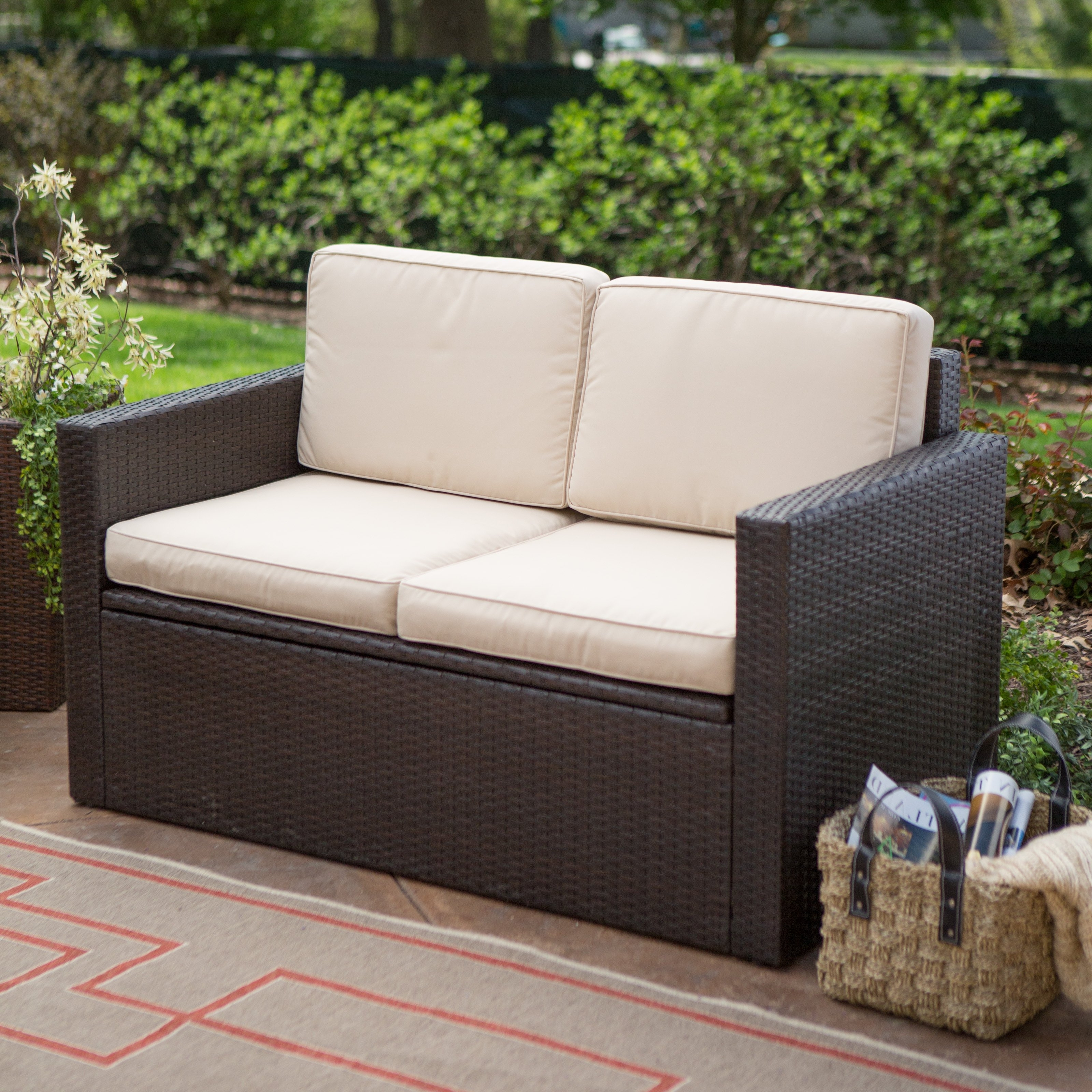 Patio Furniture Storage Elegant Coral Coast Berea Wicker 4 Piece Throughout Most Current Patio Conversation Set With Storage (View 6 of 20)