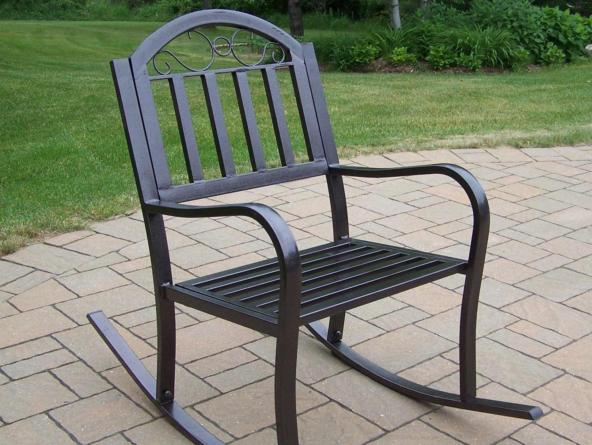 Patio Metal Rocking Chairs With Regard To Best And Newest Wrought Iron Patio Rocker Chairs Icamblog Black Rocking Chair For (View 6 of 20)