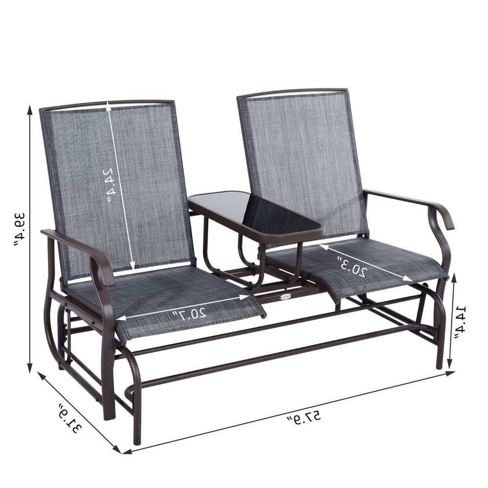 Patio Rocking Chairs And Gliders Intended For Famous Glider 2 Seater Patio Rocking Chair Metal Swing Bench Furniture (View 11 of 20)