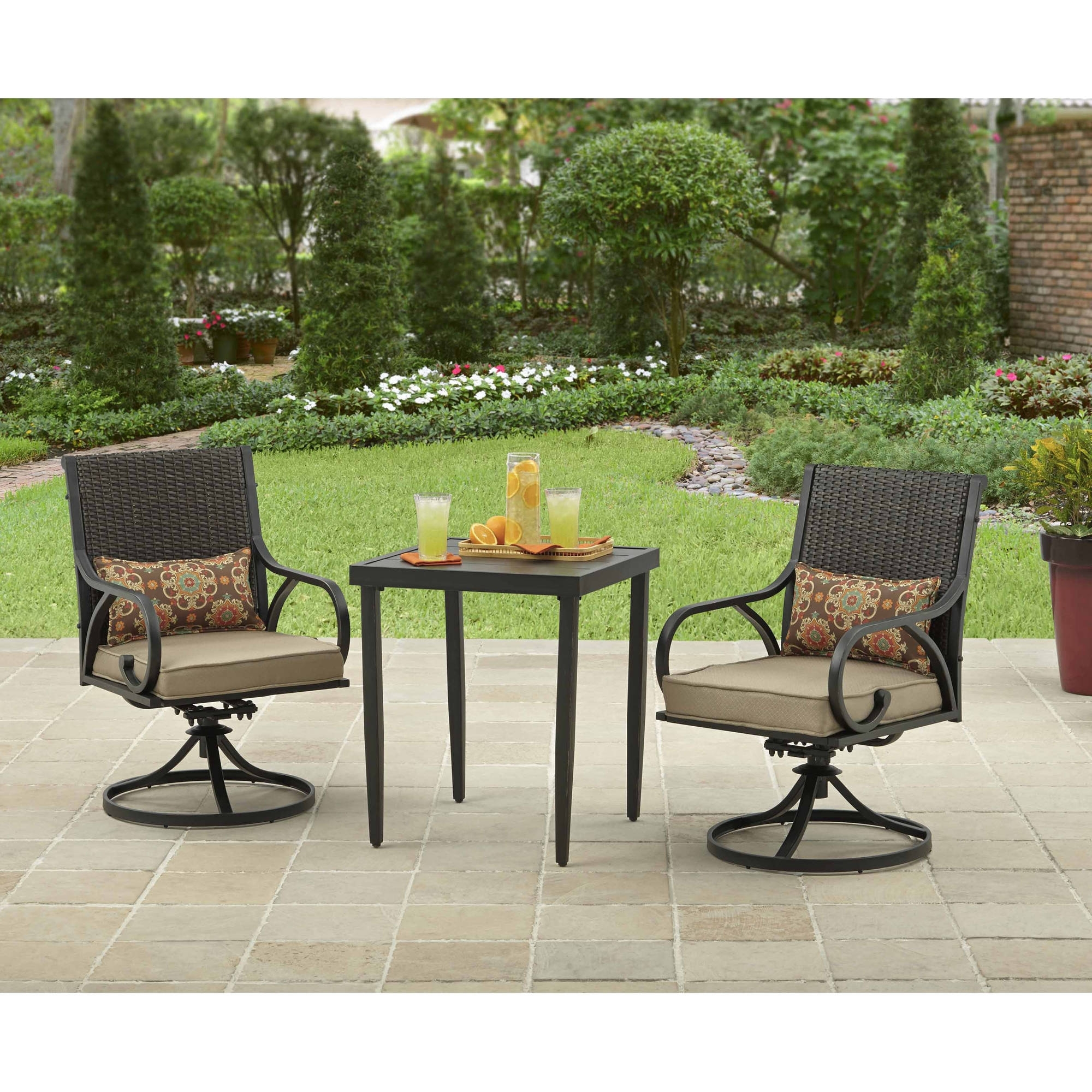 Patio Rocking Chairs And Table For Famous Outdoor Bistro Set 3 Piece Table & Chairs Swivel & Rocker Wicker (View 9 of 20)