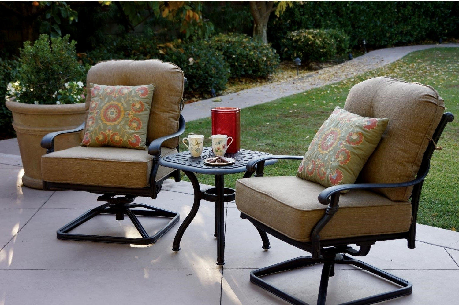Patio Rocking Chairs And Table Throughout Trendy Patio Furniture Cast Aluminum Deep Seating Rocker Set Swivel Club (View 14 of 20)